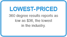 LOWEST-PRICED: 360 degree results reports as low as $36, the lowest in the industry.