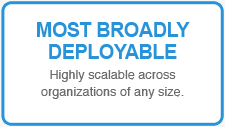 MOST BROADLY DEPLOYABLE: Highly scalable across organizations of any size.